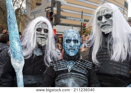 Montreal Canada - October 28 2017: Game of Thrones White Walkers and Night King taking part in the Zombie Walk in Montreal Downtown