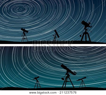 Set horizontal wide banners of stars trace circles on the sky with telescopes.