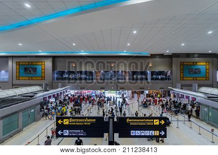 Visitors Walk Around Departure Hall In Don Muang International Airport