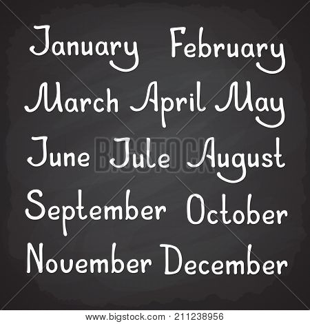 Vector illustration. Hand drawn lettering lettering of calendar months as January, February, March, May, July, August, October and December. Year seasons almanac