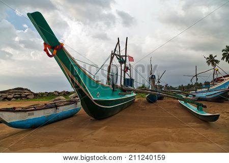 Sri Lanka Old Fishing Catamarans, Fish Boats