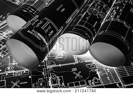 House blueprints blue print style floor plans on architects desk blueprint of a house from a high angle engineering drawings blueprints and house plan blueprints rolled up. Black and white