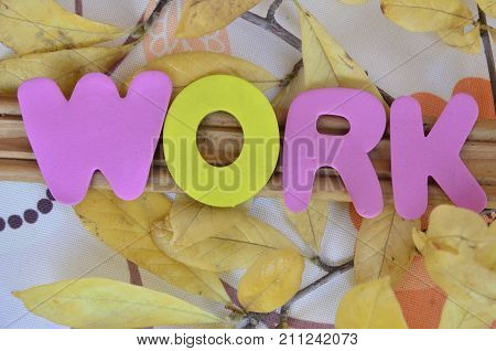 the word work on a abstract colorful background
