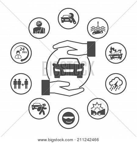 Car Insurance, Simple Rounded Insurance Icons Set. Vector Icon Design