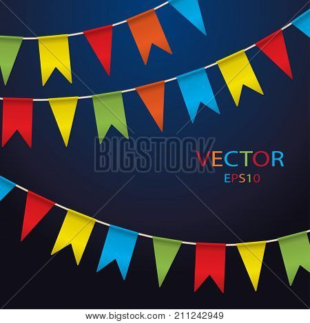Colorful garlands on white background. Party colorful bunting flags. Vector illustration party pennants with different forms. Celebrate flags. Birthday decoration. Hanging colored flags.