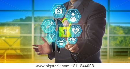 Unrecognizable business man is unlocking healthcare data of a male employee. Concept for secure access to personal health records electronic medical record and health care information exchange.