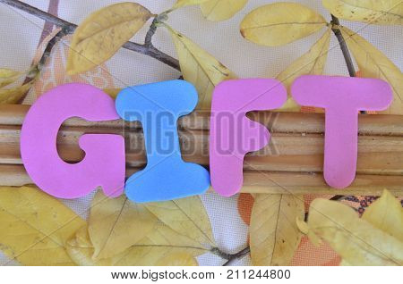 word gifrt on a  abstract colorful background