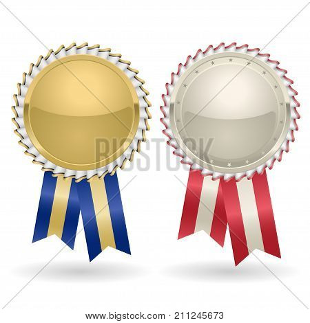Award rosette gold and silver with ribbons. Winner Medal Label awards insignia, golden badge ribbon vector