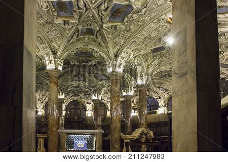 MILAN, ITALY - MAY 11 2015: Coro Jemale crypt under Milano Duomo Cathedral nobody around