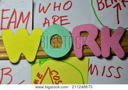 the word work on  abstract colorful background