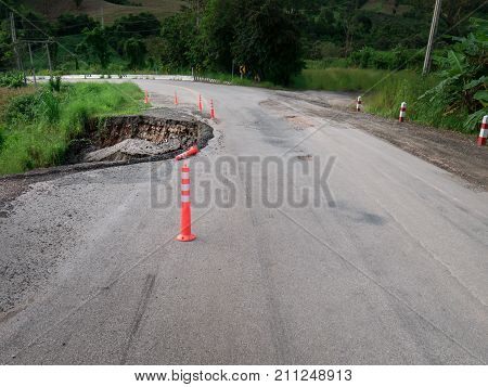 Damaged Highway Road In Country Side On The High  Mountain Near Abyss.