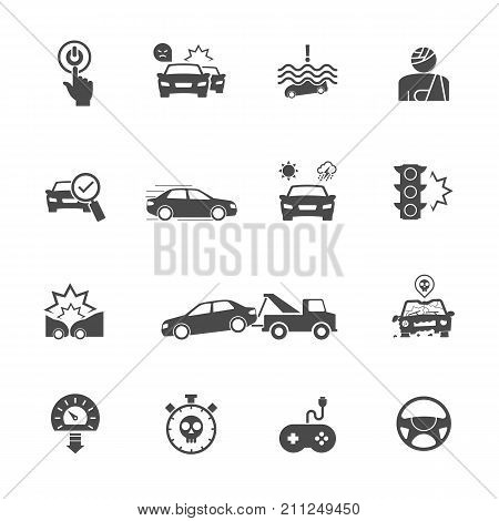 Causes Of Car Accidents, Start To Think Before You Start The Engine. Vector Icons Set Related To Car