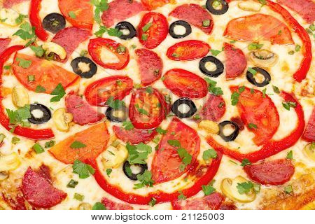 big hot pizza italiano background