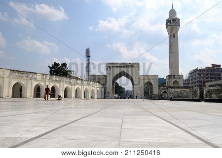 Dhaka, bangladesh- October 2017: Beautiful view of Courtyard of Baitul Mukarram National Mosque in Dhaka located at baitulmukaram area in Bangladesh taken at 24th October, 2017.