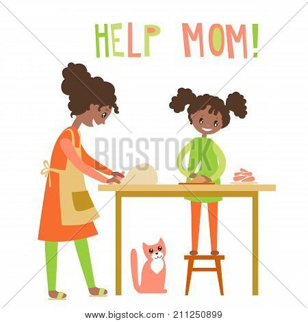 Mom and dauhter cooking together.African Americans family.  Home help, upbringing. Vector flat illustration. Happy people.