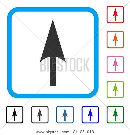 Arrow Axis Y icon. Flat gray iconic symbol inside a blue rounded rectangle. Black, gray, green, blue, red, orange color variants of Arrow Axis Y vector. Designed for web and software user interface.