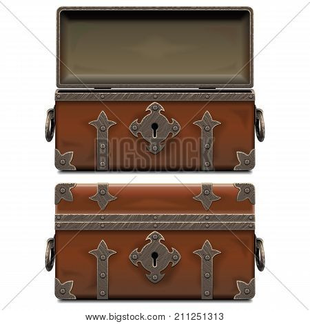 Vector Empty Old Pirate Forged Chest isolated on white background