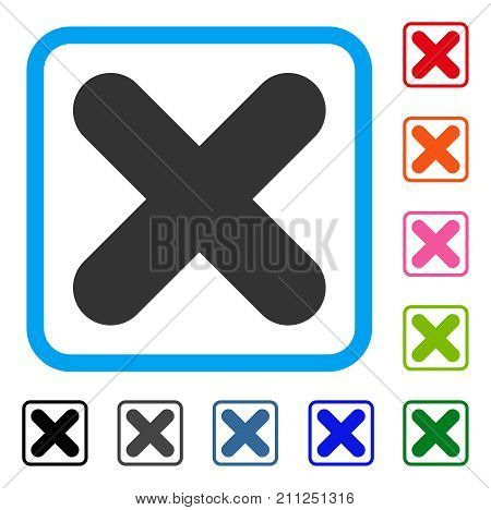 Cancel icon. Flat grey pictogram symbol in a blue rounded rectangle. Black, gray, green, blue, red, orange color versions of Cancel vector. Designed for web and software interfaces.