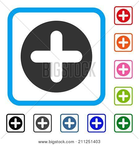 Create icon. Flat grey pictogram symbol inside a blue rounded frame. Black, gray, green, blue, red, orange color additional versions of Create vector. Designed for web and application user interface.