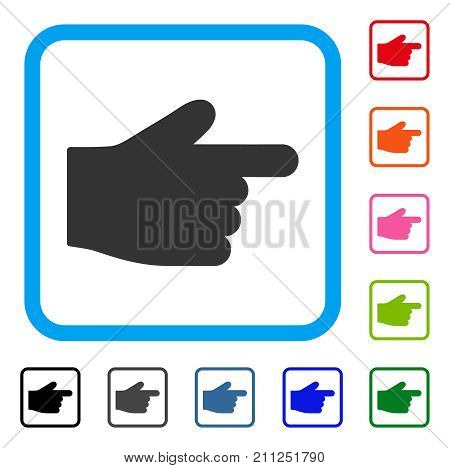 Index Finger icon. Flat grey iconic symbol in a blue rounded squared frame. Black, gray, green, blue, red, orange color variants of Index Finger vector. Designed for web and application interfaces.