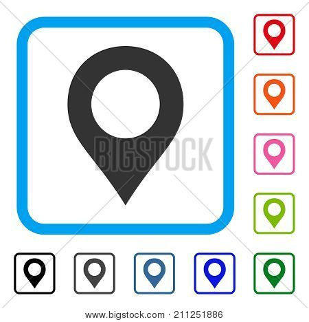 Map Marker icon. Flat grey iconic symbol inside a blue rounded rectangle. Black, gray, green, blue, red, orange color variants of Map Marker vector. Designed for web and app interfaces.