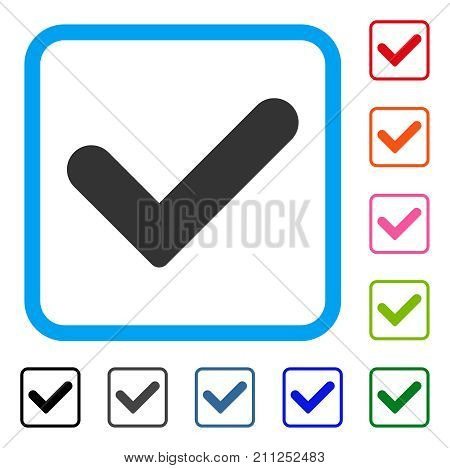 Yes icon. Flat gray pictogram symbol inside a blue rounded squared frame. Black, gray, green, blue, red, orange color variants of Yes vector. Designed for web and app UI.