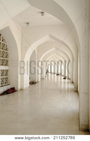 Dhaka, bangladesh- October 2017: Beautiful side view of Courtyard of Baitul Mukarram National Mosque in Dhaka, ocated at baitulmukaram area in Bangladesh taken at 24th October, 2017.