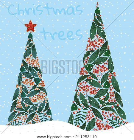 Christmas trees made of leaves and rowanberry falling snow on the blue background