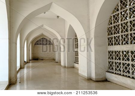Dhaka, bangladesh- October 2017: Beautiful side view of Courtyard of Baitul Mukarram National Mosque in Dhaka, ocated at baitulmukaram area in Bangladesh taken at 24th October, 2017