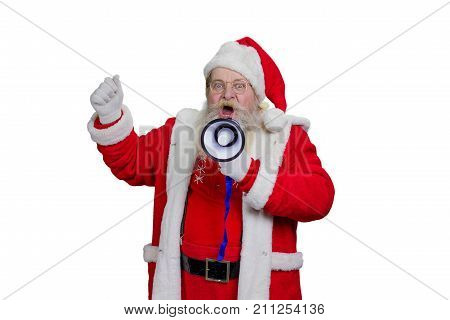 Bearded Santa Claus shouting in megaphone. Studio shot of Santa Claus loudly speaking in megaphone, white background. Santa Claus talking in megaphone, close up portrait.
