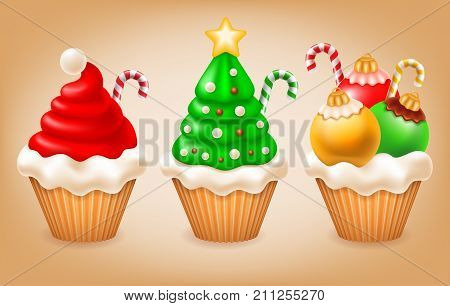 Sweet Christmas and New Year. Various tasty cupcakes as Santa hat Christmas tree and Christmas balls. Creative elements for your design. Vector illustration.