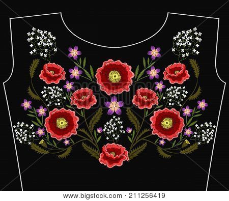 Embroidery poppy flowers for neckline. Vector fashion embroidered floral ornament, fancywork pattern for textile, fabric traditional folk decoration.