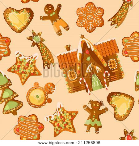 Gingerbread house and festive Gingerbread Cookies. Christmas tradition. Seamless background pattern. Vector illustration