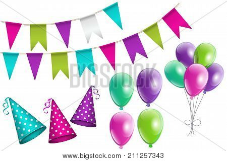 Party set of realistic colorful bunting flags dotted party hats with ribbon glowing balloons. Set of birthday party elements for your design