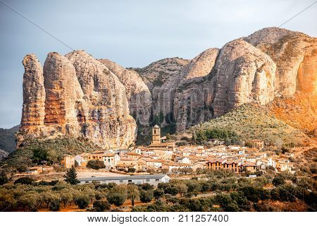 Landscape view on Aguero village with cliffs located in the province of Huesca in Spain