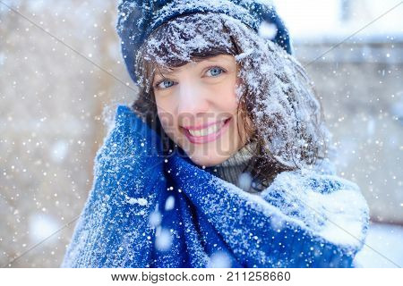 Winter Portrait Of A Young Woman. Beauty Joyous Model Girl Touching Her Face Skin And Laughing, Havi