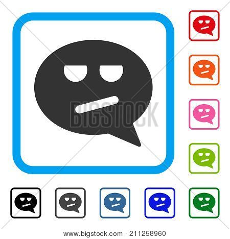 Bored Smiley Message icon. Flat gray iconic symbol inside a blue rounded square. Black, gray, green, blue, red, orange color additional versions of Bored Smiley Message vector.