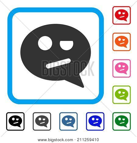 Negation Smiley Message icon. Flat grey pictogram symbol inside a blue rounded square. Black, gray, green, blue, red, orange color versions of Negation Smiley Message vector.