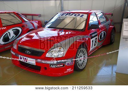 Togliatti, Russia - Aug 4, 2017: Museum Of AVTOVAZ - Car Lada Priora sport version