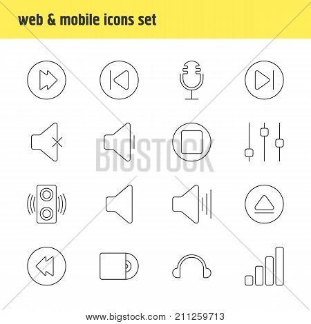 Editable Pack Of Decrease Sound, Stabilizer, Pause And Other Elements.  Vector Illustration Of 16 Melody Icons.