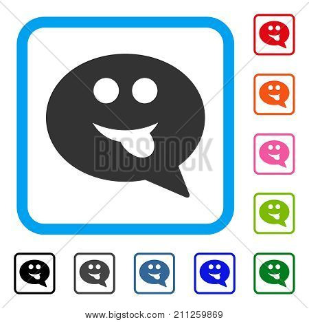 Tongue Smiley Message icon. Flat grey pictogram symbol inside a blue rounded frame. Black, gray, green, blue, red, orange color additional versions of Tongue Smiley Message vector.