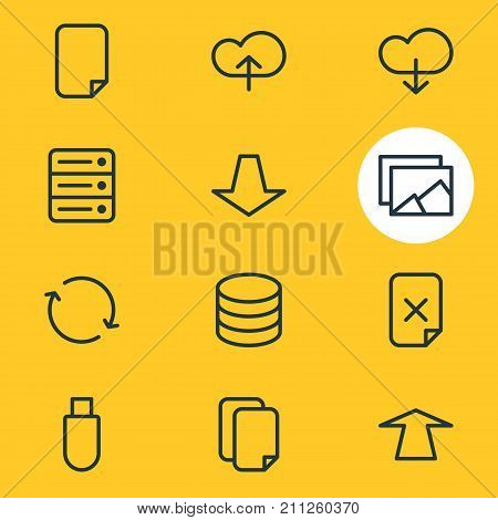 Editable Pack Of File, Synchronize, Datacenter And Other Elements.  Vector Illustration Of 12 Archive Icons.