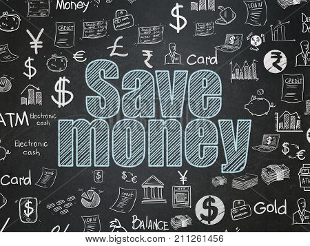 Money concept: Chalk Blue text Save Money on School board background with  Hand Drawn Finance Icons, School Board