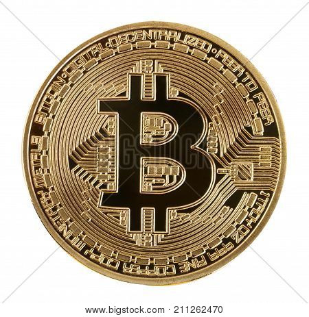 Face of the crypto currency golden bitcoin isolated on white background. The concept of virtual international currency and business on the Internet.