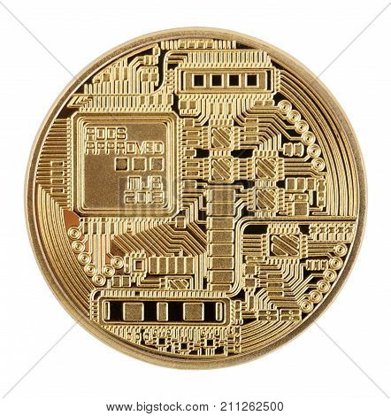 Reverse side of crypto currency golden bitcoin isolated on white background. The concept of virtual international currency and business on the Internet.
