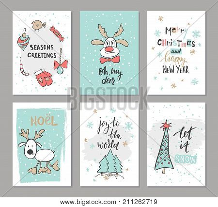 Christmas hand drawn cute cards with reindeer trees candy mitten bird and other items. Vector illustration.