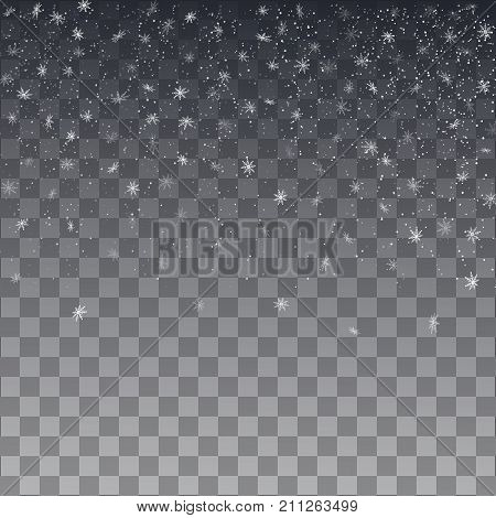 Snowflake Vector. Falling Christmas Snow Fall Isolated.