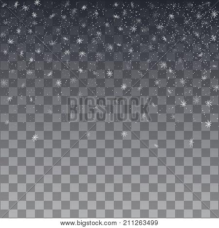 Snowflake Vector. Falling Christmas Snow Fall Isolated.