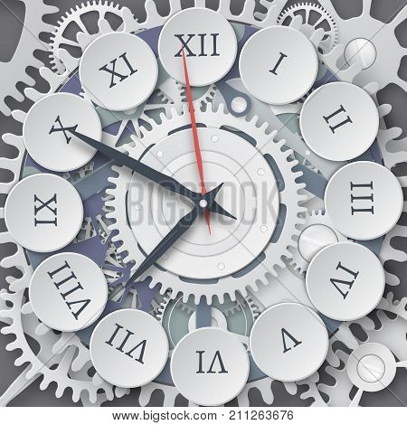 Vector illustration of mechanical watches. Roman dial of the watch. Clockwork with Cogs and Gears.
