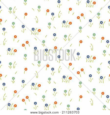 Small flowers line floral tender pattern seamless vector. Simple blue orange colored flowers with green stalks for print on fabric.